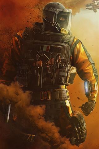 iPhone Fondos de pantalla Rainbow Six Siege, soldado, humo, luchador