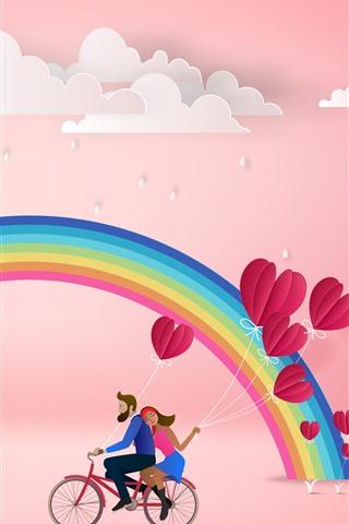 iPhone Fondos de pantalla Arco iris, nubes, amantes, corazones de amor, fondo rosado