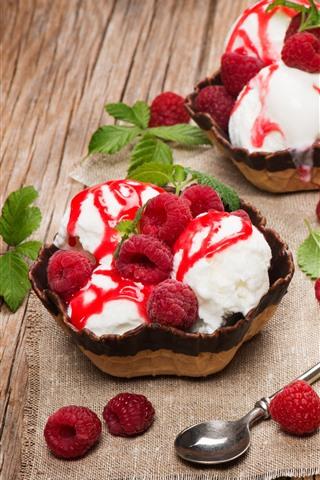 iPhone Wallpaper Raspberry, ice cream, dessert