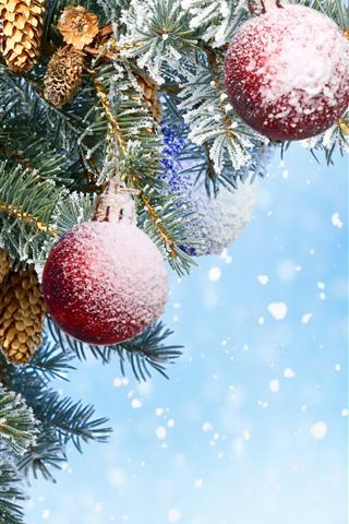iPhone Fondos de pantalla Bolas de Navidad rojas, corazón de amor, ramitas, nieve, fondo azul