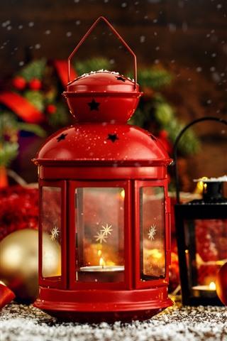 iPhone Wallpaper Red lantern, Christmas balls, decoration