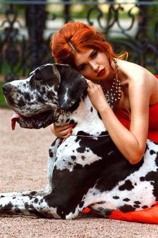 iPhone Fondos de pantalla Chica de falda roja y perro