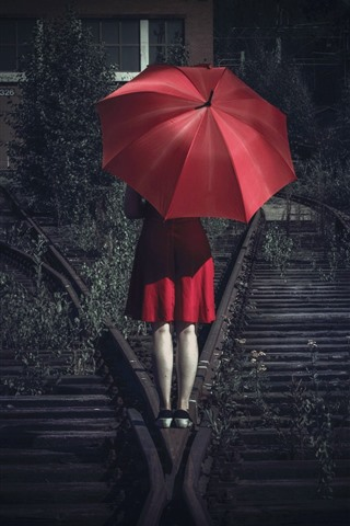 Red Skirt Girl Back View Umbrella Railroad 750x1334 Iphone