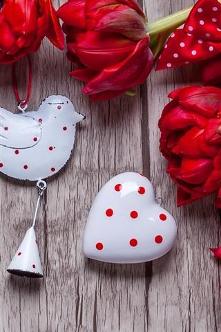 iPhone Wallpaper Red tulips, love hearts, bird decoration