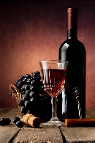 iPhone Fondos de pantalla Vino tinto, uvas, botella, vaso de vidrio