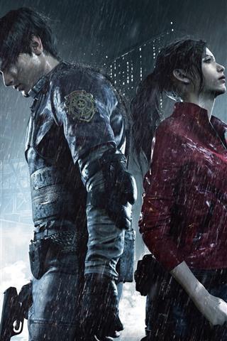 iPhone Papéis de Parede Resident Evil 2, menino e menina, chuva