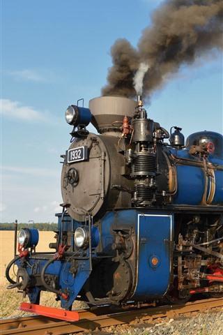 iPhone Fondos de pantalla Tren Retro, motor, humo