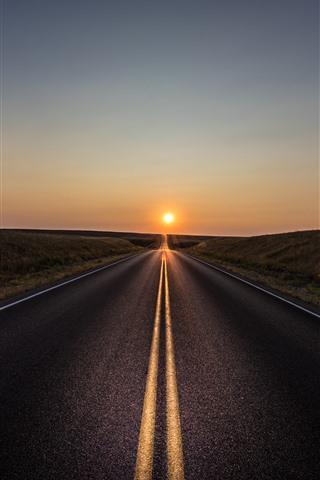 iPhone Wallpaper Road, lines, grass, sunset
