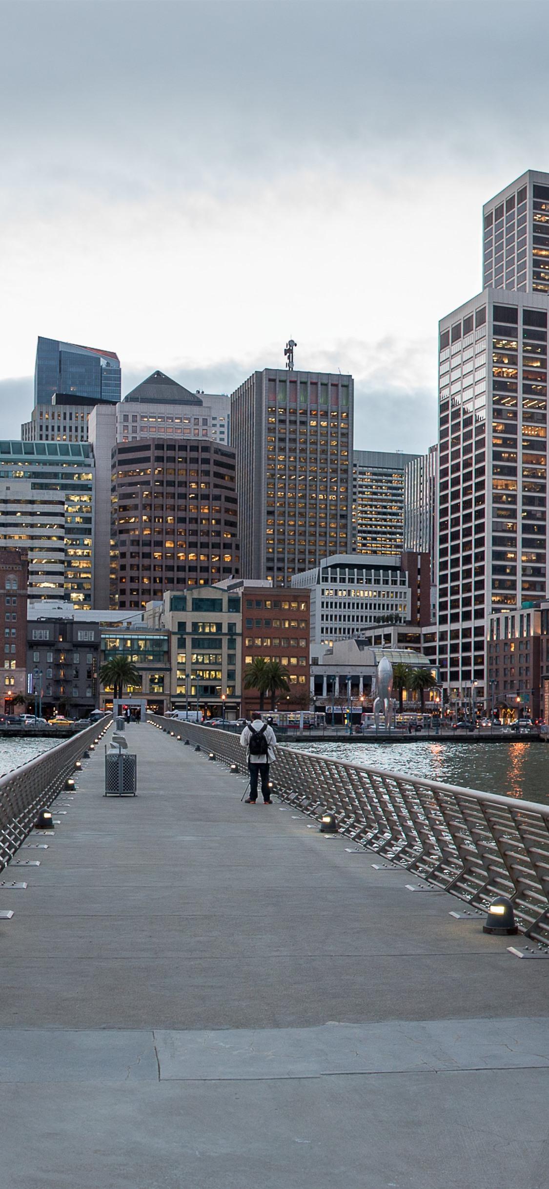 San francisco california usa skyscrapers bridge sea - San francisco iphone wallpaper ...