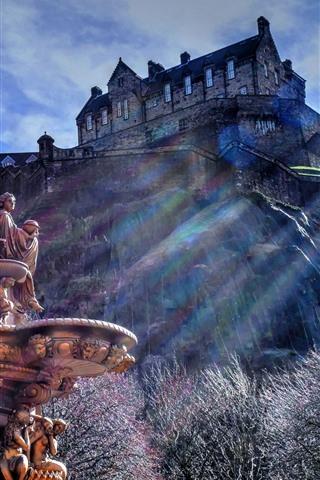 iPhone Fondos de pantalla Escocia, Edimburgo, fuente, castillo, estatua