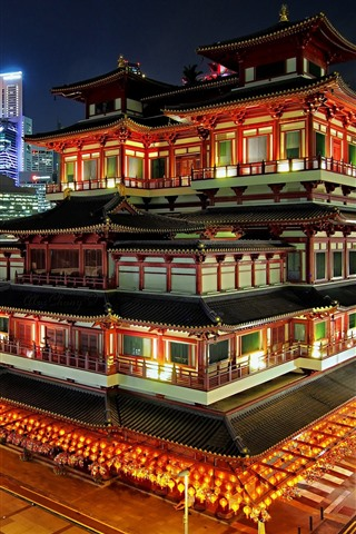 iPhone Wallpaper Singapore, city night, buddhist temple, lights