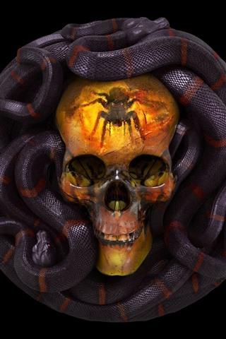 iPhone Wallpaper Skull, snake, horror