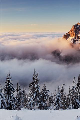 iPhone Fondos de pantalla Eslovaquia, montaña, árboles, nubes, nieve, invierno
