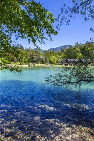iPhone Wallpaper Slovenia, Jasna Lake, trees, house