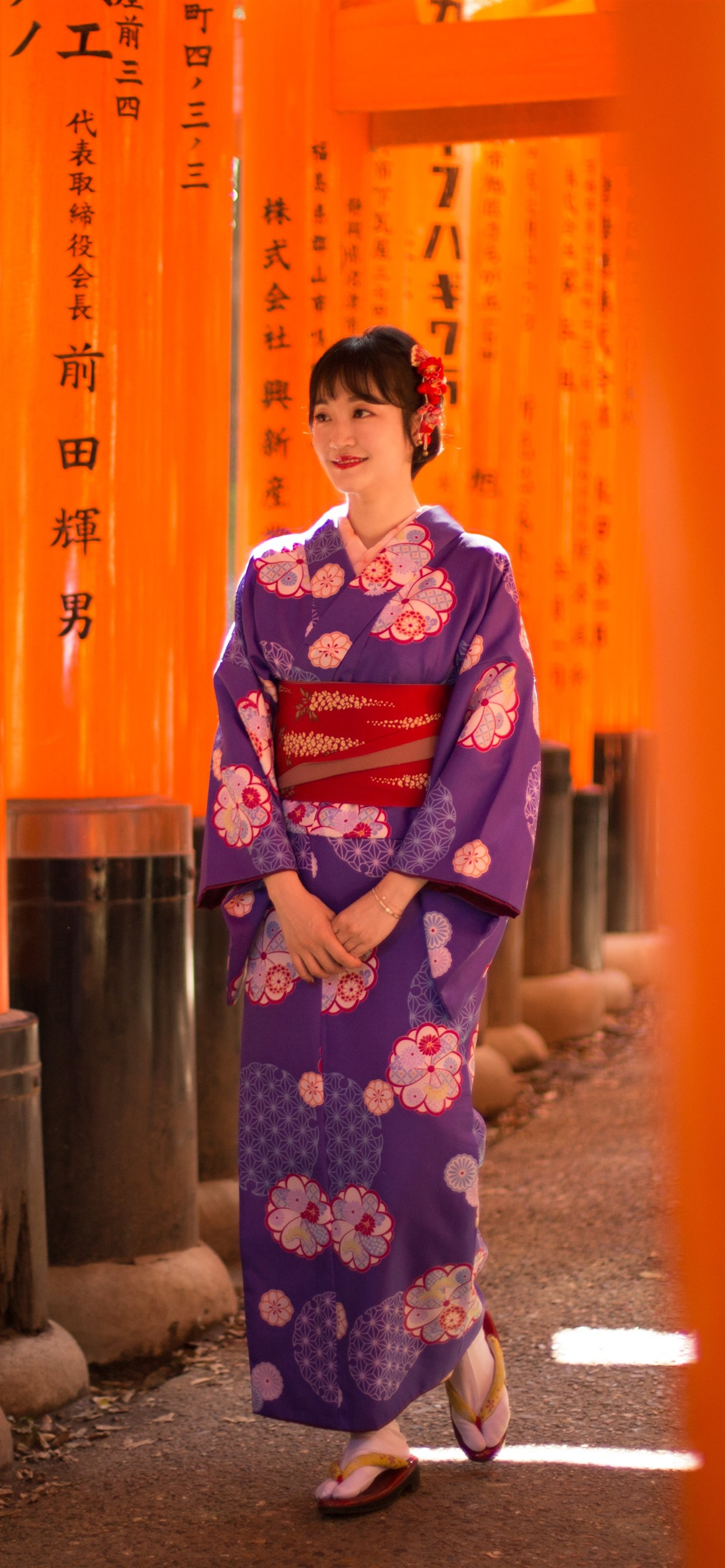 Wallpaper Smile Japanese Girl Kimono Walk 5120x2880 Uhd 5k