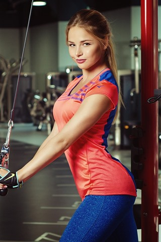 iPhone Wallpaper Smile blonde girl, fitness, gym