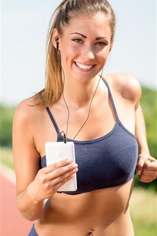 iPhone Wallpaper Smile girl, running, sport, fitness