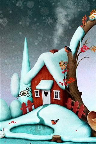 iPhone Fondos de pantalla Nieve, casa, pájaros, navidad, fotografía creativa.