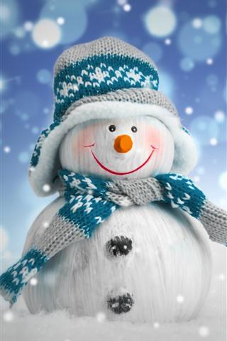 iPhone Fondos de pantalla Snowman, suéter, bufanda, nieve, año nuevo