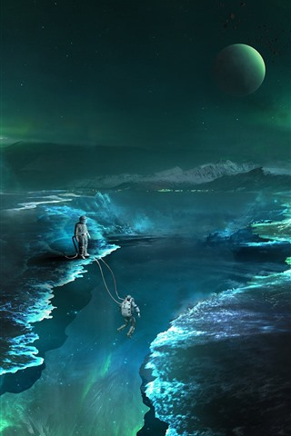 iPhone Wallpaper Space, stars, fiction, abyss, astronaut, planet