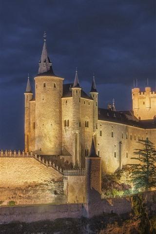 iPhone Fondos de pantalla España, Alcázar, Segovia, castillo, noche