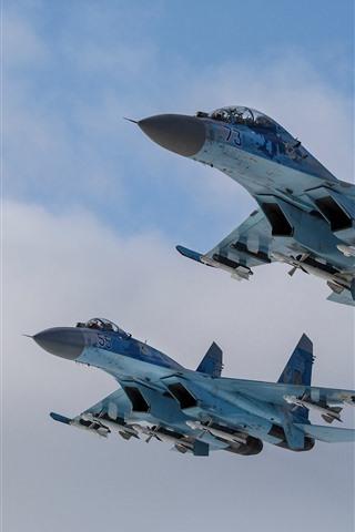 iPhone Fondos de pantalla Su-27 caza, vuelo, cielo