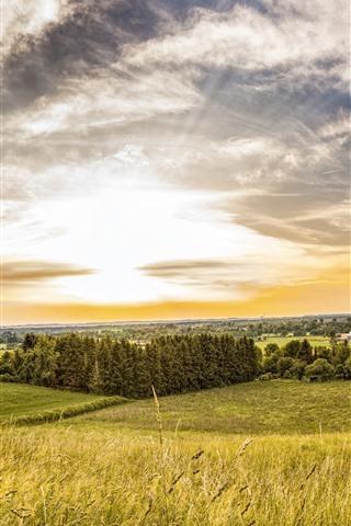 iPhone Fondos de pantalla Verano, campos, árboles, pueblo, nubes, puesta de sol.