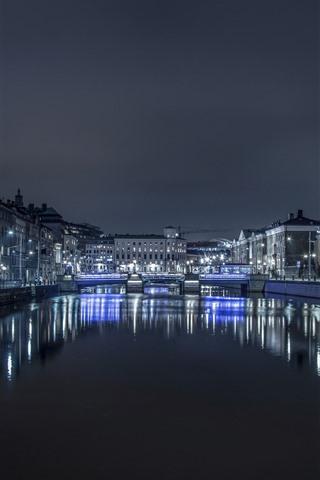 iPhone Wallpaper Sweden, Gothenburg, night, river, buildings, illumination