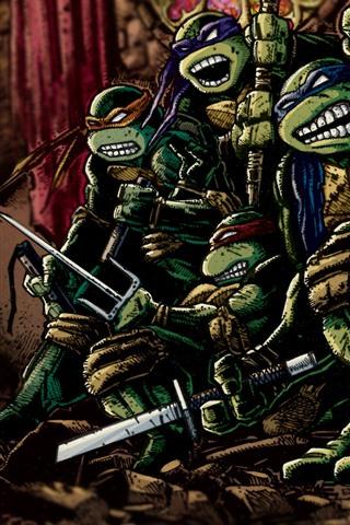 iPhone Fondos de pantalla Teenage mutante Ninja Turtles, Anime clásico, imagen de arte