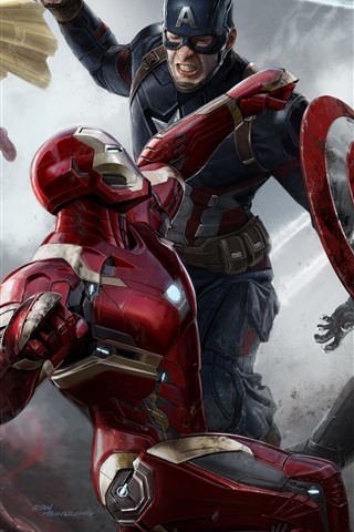iPhone Wallpaper The Avengers, superheroes, art picture, Marvel movie