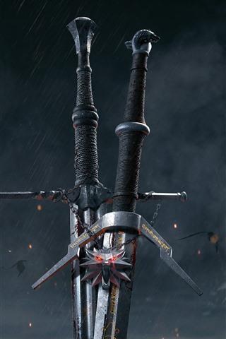 iPhone Fondos de pantalla The Witcher 3: Wild Hunt, espada, juego caliente