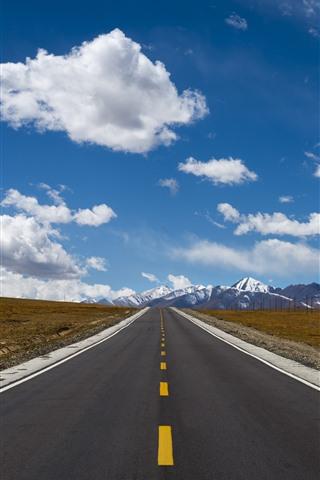 iPhone Fondos de pantalla Tíbet, carretera, montañas nevadas, nubes, cielo azul