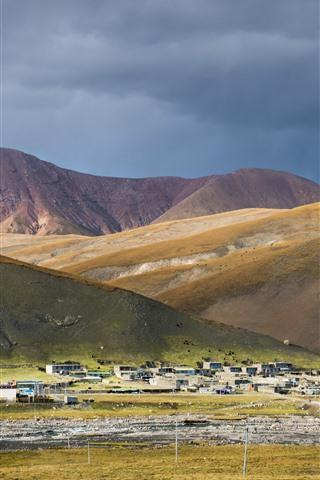 iPhone Fondos de pantalla Tibet, pueblo, montañas, China