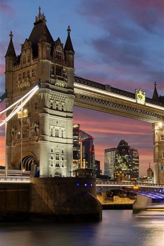 iPhone Wallpaper Travel to England, London, Tower Bridge, river, night, lights