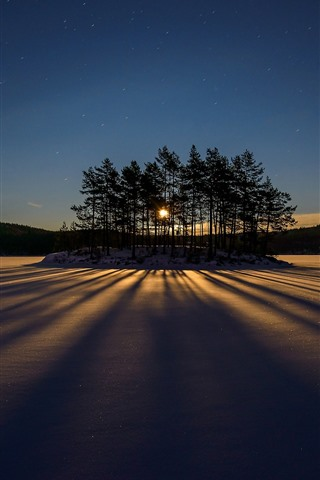 iPhone Fondos de pantalla Árboles, nieve, lago, sombra, rayos solares, invierno, estrellado