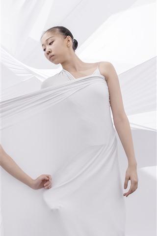 iPhone Fondos de pantalla Dos bailarinas, paño blanco, estilo artístico