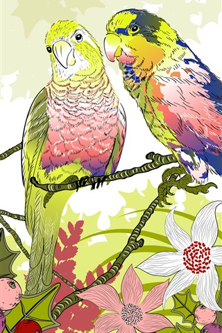 iPhone Wallpaper Two parrots, berries, flowers, art drawing