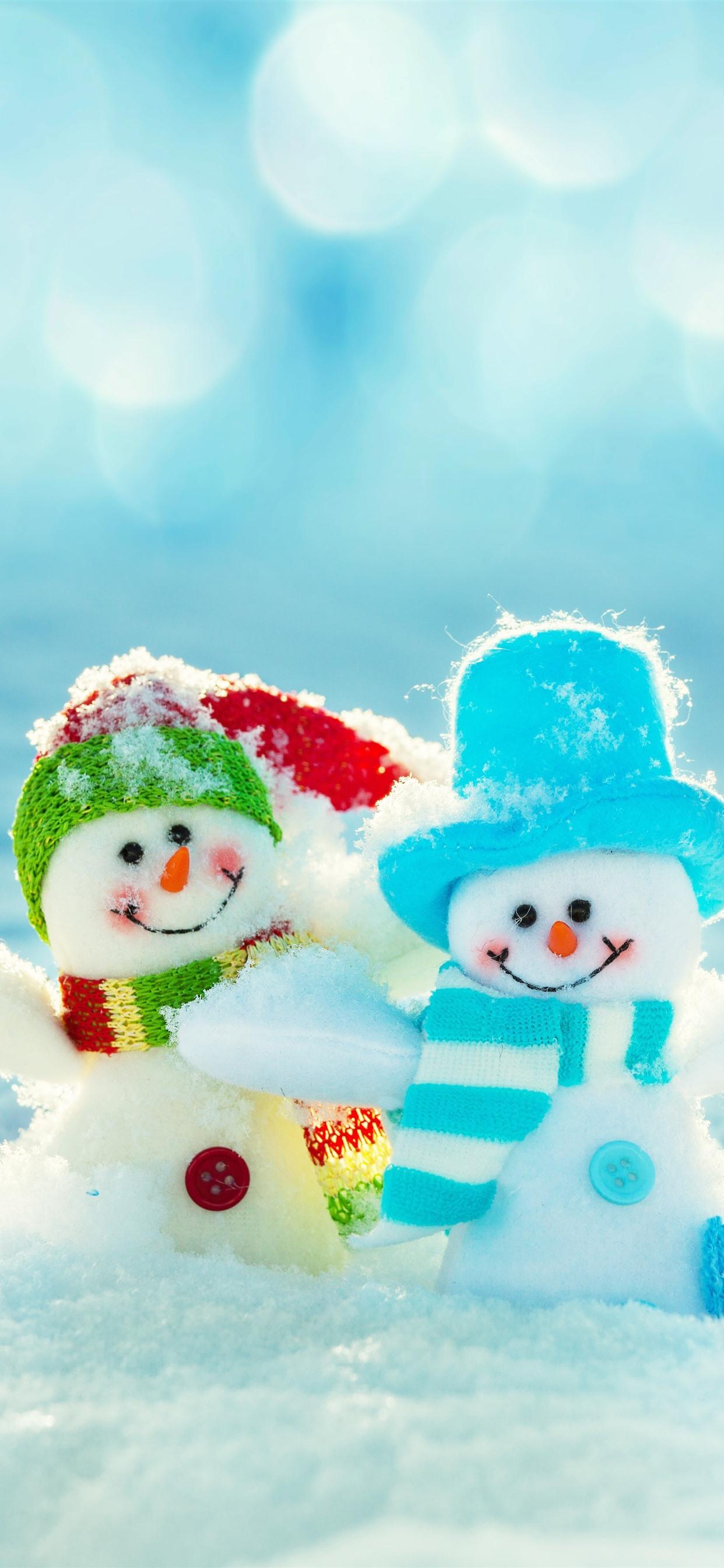 2つの雪だるま おもちゃ 雪 冬 1242x2688 Iphone 11 Pro Xs Max