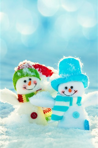 iPhone Wallpaper Two snowman, toys, snow, winter