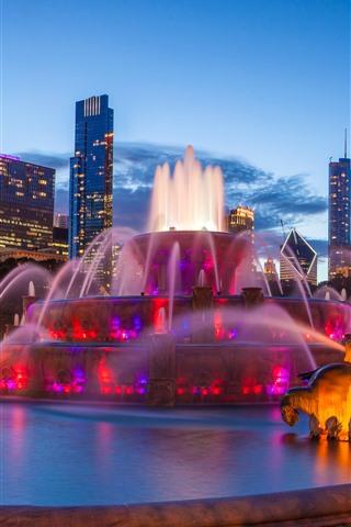 iPhone Wallpaper USA, Chicago, Buckingham fountain, night, city, skyscrapers, lights