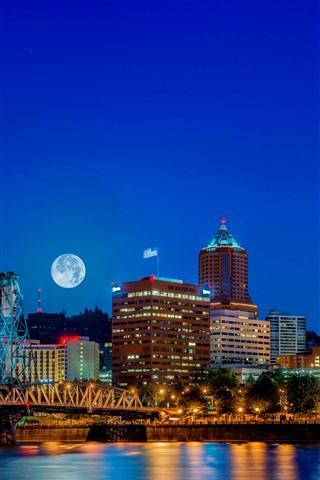 iPhone Wallpaper USA, Denver, cityscape, night, buildings, river, lights
