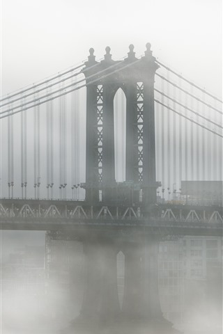 iPhone Wallpaper USA, New York, Brooklyn, bridge, fog, morning
