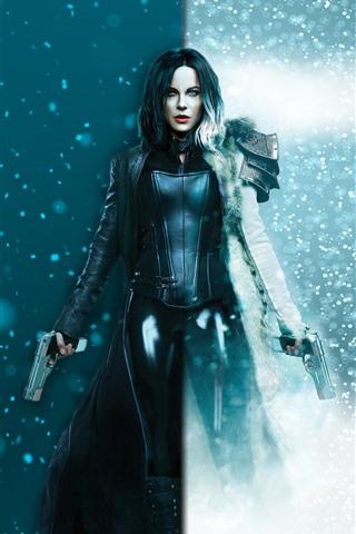 iPhone Wallpaper Underworld: Blood Wars, Kate Beckinsale, snow, guns