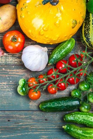 iPhone Wallpaper Vegetables, pumpkin, tomato, potato, carrot, cucumber