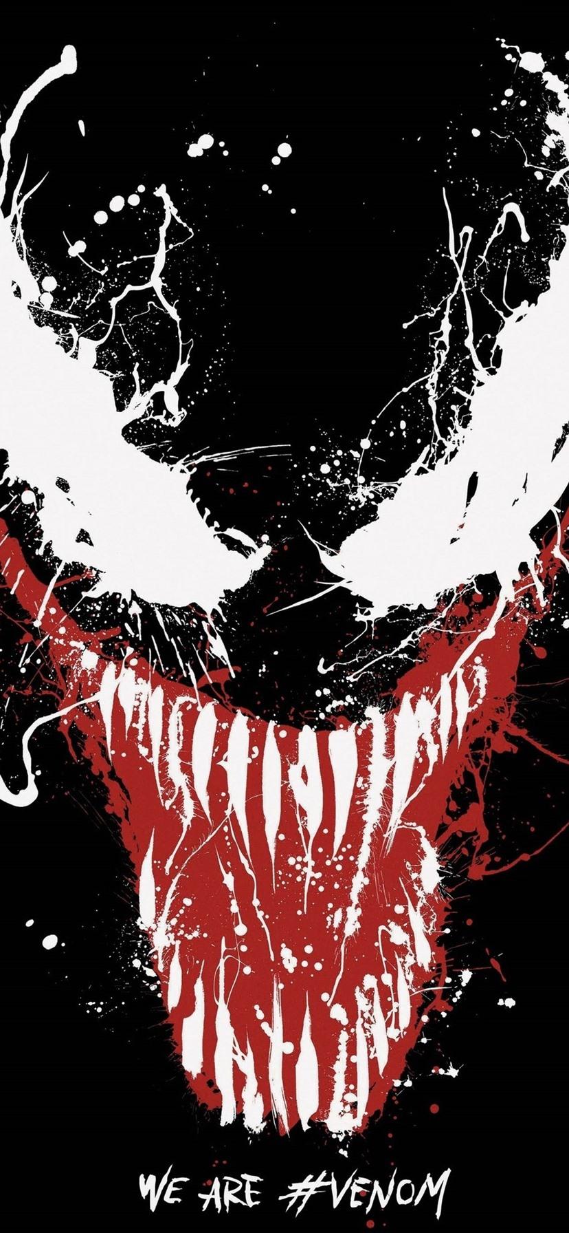 Wallpaper Venom Marvel Superhero Paint Splash Eyes Teeth Black