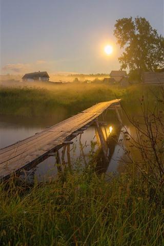 iPhone Wallpaper Village, river, wood bridge, grass, house, fog, sun, morning