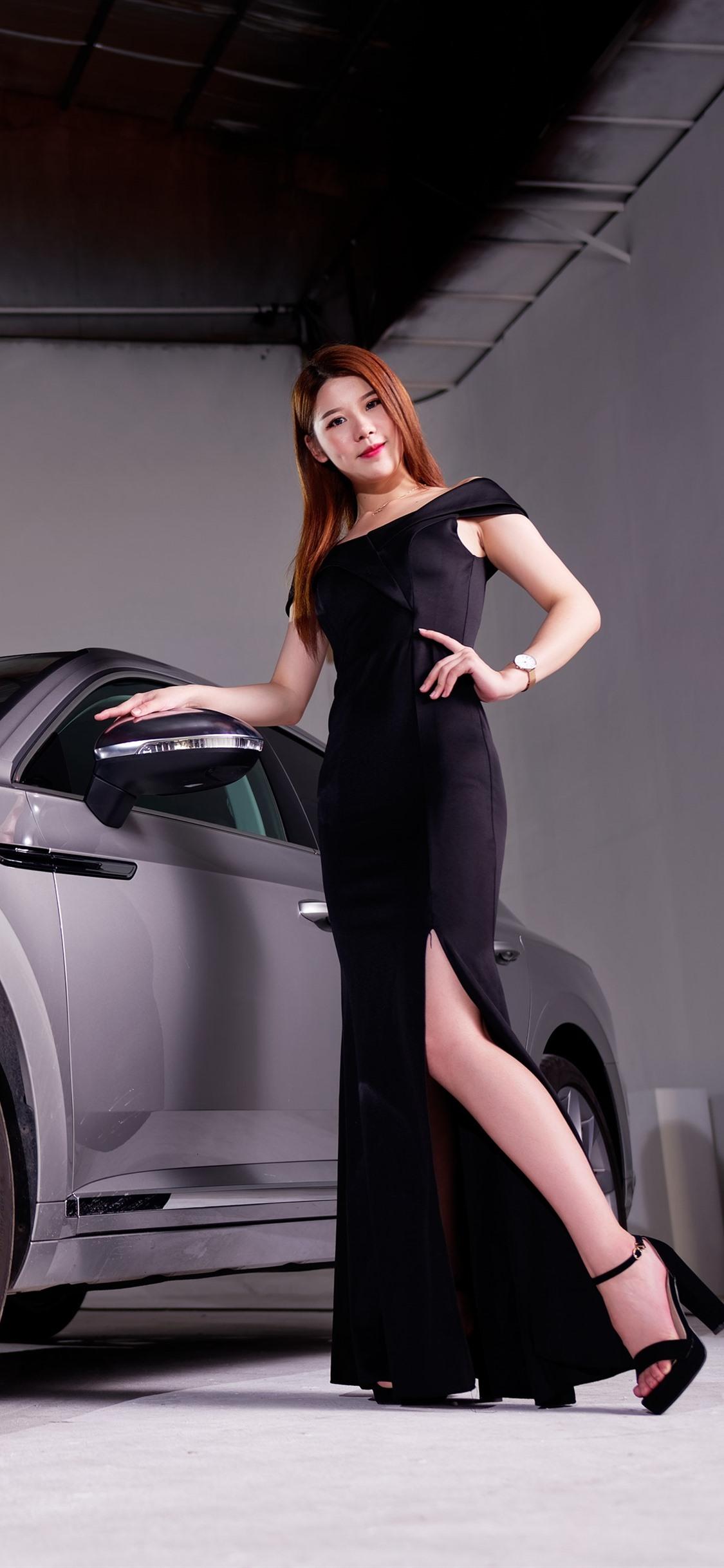 Volkswagen silver car, black skirt girl 1125x2436 iPhone XS