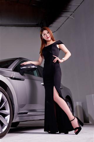 iPhone Fondos de pantalla Coche de plata de Volkswagen, muchacha negra de la falda