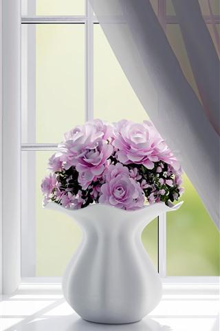 iPhone Wallpaper Window, pink roses, vase, interior design
