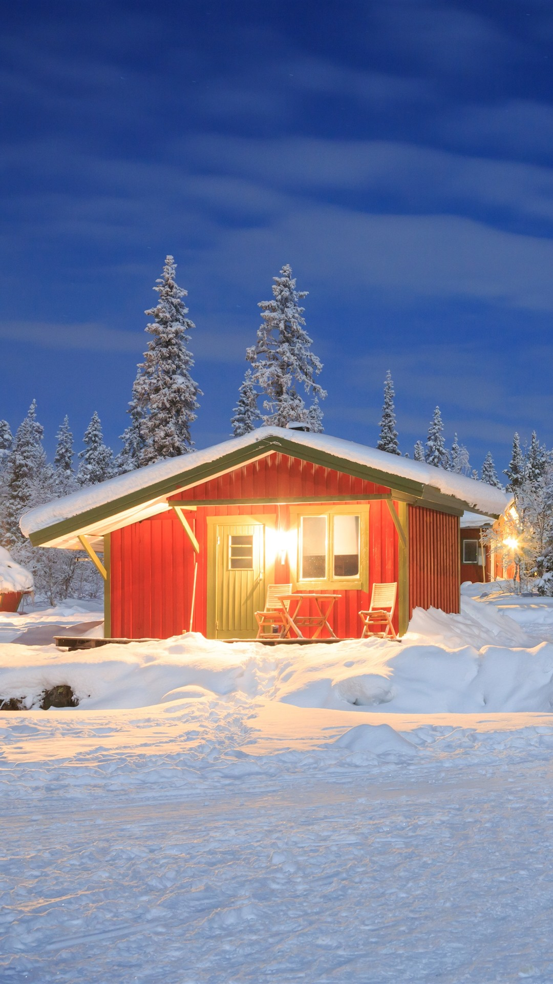 Winter Snow Houses Trees Lights 1242x2688 Iphone 11 Pro Xs Max Wallpaper Background Picture Image
